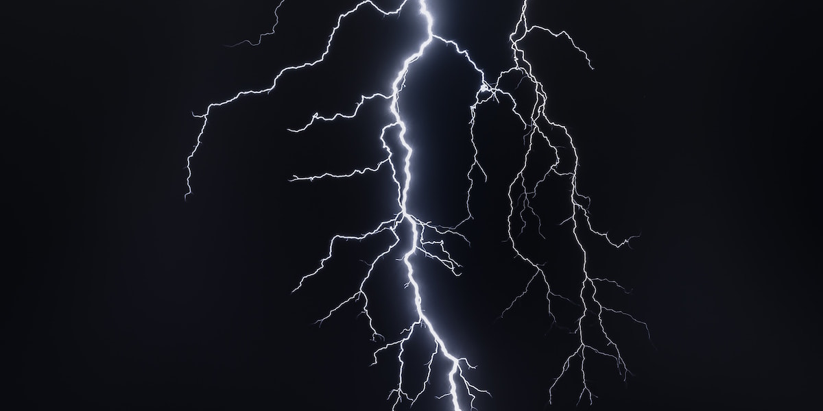 A cloud to ground lightning discharge with multiple branches